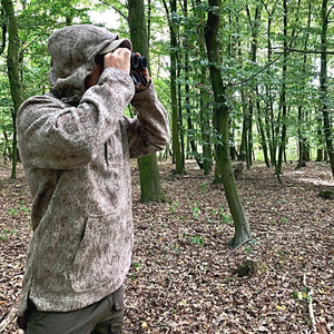 WeatherWool Advisor Max Riede, of Germany, in his Lynx Pattern Anorak, scouting for roe deer