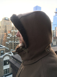 The WeatherWool Mouton Hood is extremely warm with a layer of our FullWeight Fabric on the outside and Natural Mouton Fleece on the inside. The Mouton Hood is usually paired with the WeatherWool Mouton Vest or Mouton Jacket.