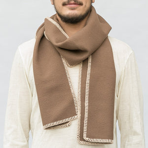 WeatherWool Generous Scarf in Duff Color Merino Jacquard Fabric, with Alpaca blanket stitching
