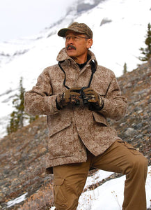 WeatherWool Pure Merino Wool All-Around Jacket in Lynx Pattern worn by outdoor professional and writer Ron Spomer