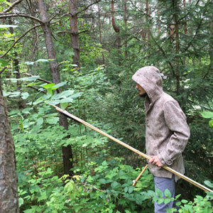 WeatherWool Advisor Zach Gault, @Primitive.Living, has a large social media presence and is a fulltime outdoor skills instructor and practitioner.  Zach makes his own atlatl and darts and hunts with them.