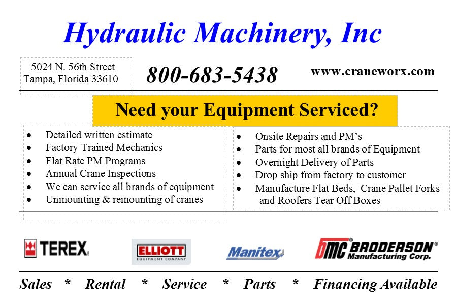 Contact Hydraulic Machinery, Inc for all your Boom Truck service needs