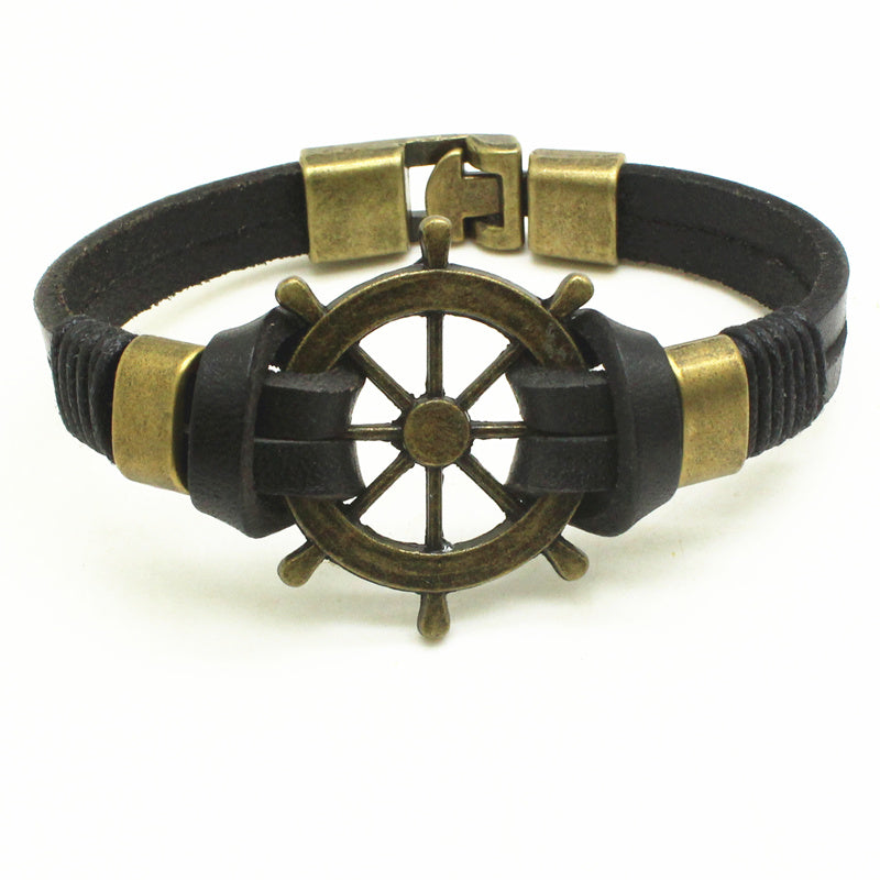 Trendy Leather Rope Handmade Double Layer Rudder Bracelet - thehipsterinyou