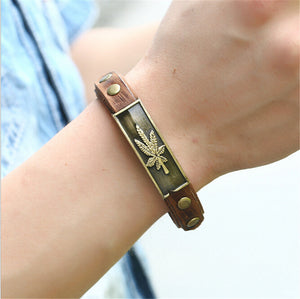 Leather Maple Leaf Bracelet Wristband; Unisex - thehipsterinyou