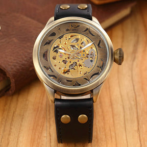 Skeleton mechanical Mens Watch automatic self wind - thehipsterinyou