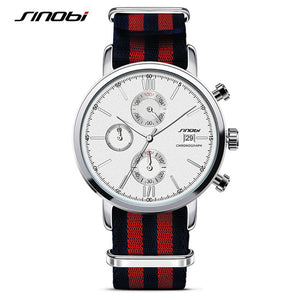SINOBI Quartz Watch Fashion Sports Chronograph men's Wrist Watches With Nylon strap - thehipsterinyou