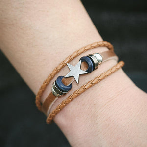 3 Color Vintage Design Star Leather Bracelet For Women or Men - thehipsterinyou