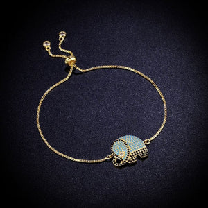 African Crystal Elephant Gold Charm Bracelets for Women - thehipsterinyou