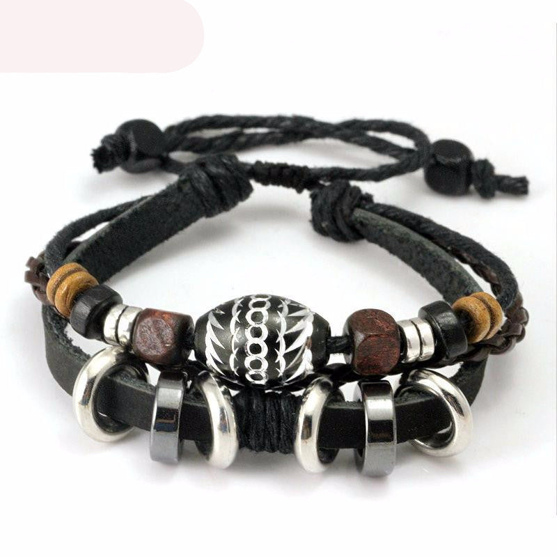 Hipster looking Black Leather Rope Bracelet with Colorful Wooden Beads and Metal - thehipsterinyou