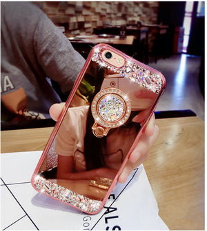 iPhone 7 Case Luxury Women Diamond Glitter Mirror Case With 360 Phone Ring Stand Soft Case For iPhone 7 6 6S Plus 5 5S Cover - thehipsterinyou