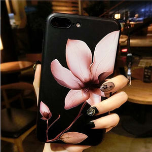Fashion 3D White Flower Paint Phone Cases For iPhone 6 Case Retro Soft TPU Back Cover Coque For iPhone 7 6 6s Plus 5 5s SE Funda - thehipsterinyou