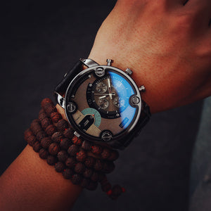 Very Beautiful Blue Glass Big Dial Black Leather Quartz Watche - thehipsterinyou