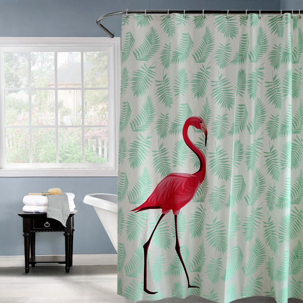Red Flamingo Green Leaves Waterproof Shower Curtain - thehipsterinyou