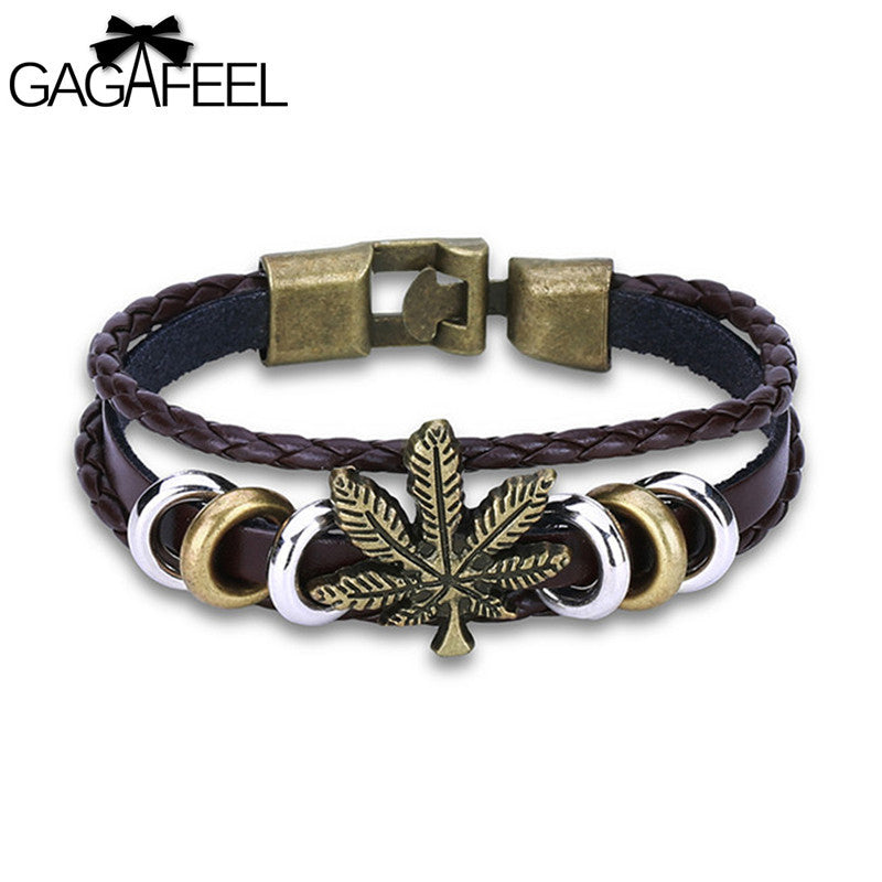Healing Leaf Leather Bracelet Bangle With Hi-Pop Beads - thehipsterinyou