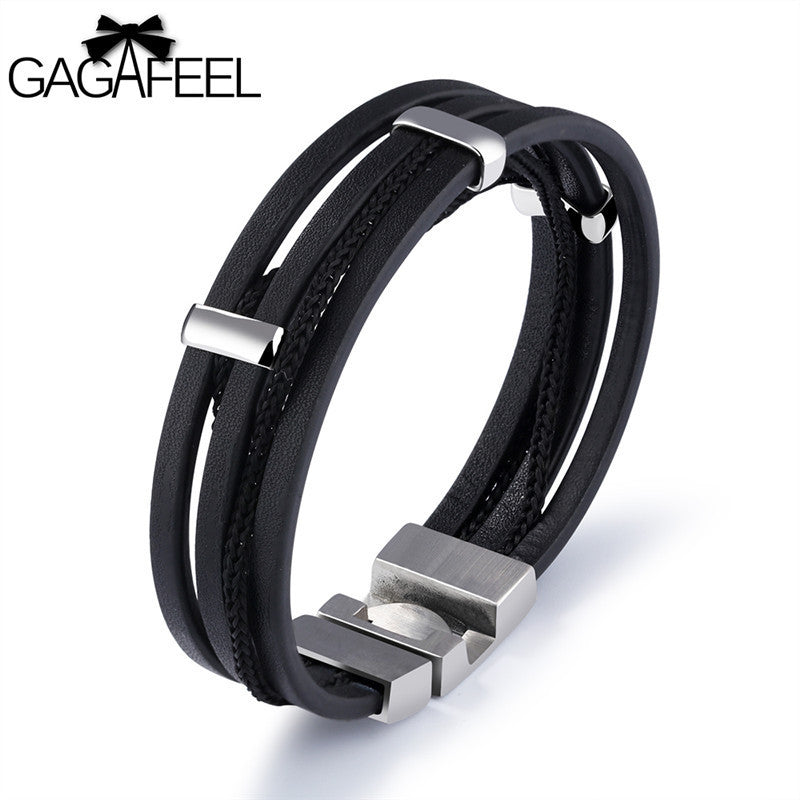 Real Leather Hipster Bracelet & Bangle Stainless Steel Wrap Chain Cowhide Jewelry With Delicate Clasp - thehipsterinyou