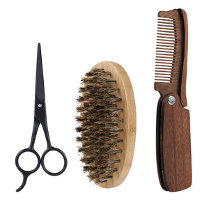 Stay On Top Of Your Beard With This 3Pcs Men's Boar Bristle Brush And Comb Plus Scissor Set
