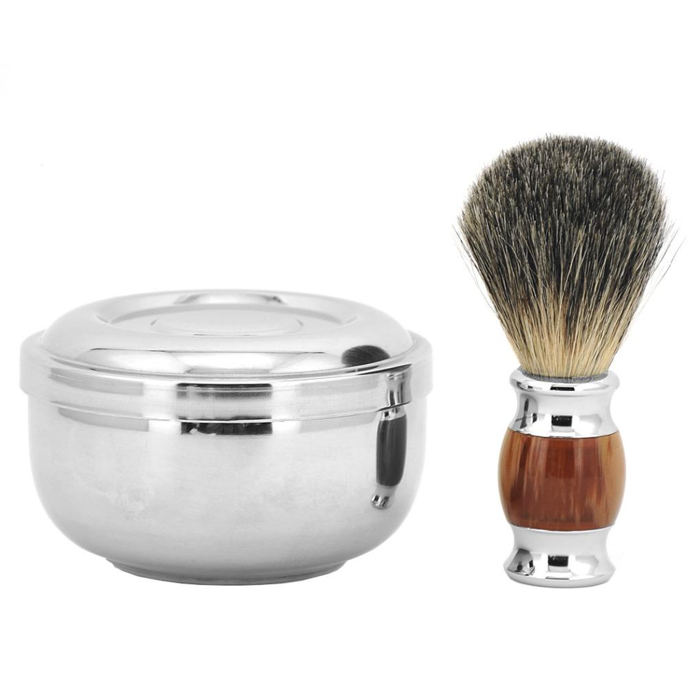 100% Pure Badger Hair Shaving Beard Brush + Shaving Soap Mug Bowl Cup Men Shave Razor Kit - thehipsterinyou