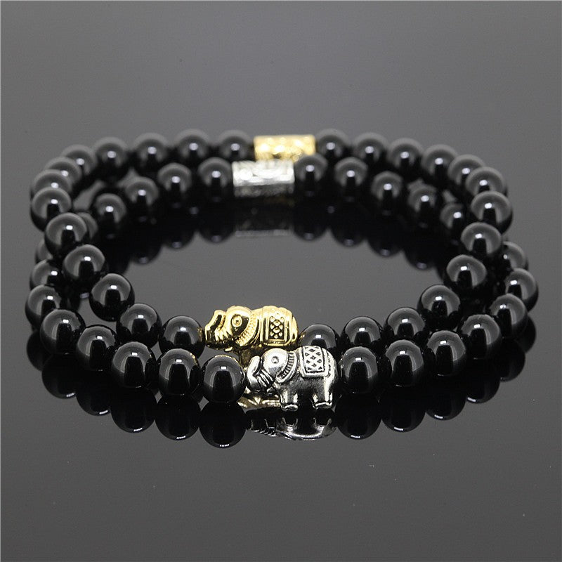 2pcs 6mm Black Female Bead Onyx Natural Stone Bead Bracelet Elephant Connector Charm Bracelet for Men - thehipsterinyou