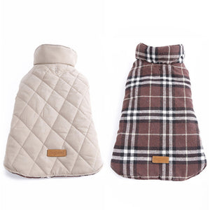 Waterproof Reversible Dog Jacket Warm Plaid Winter Dog Coat - thehipsterinyou