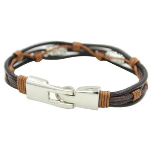 Genuine Leather Silver And Brown Strap Bracelet - thehipsterinyou