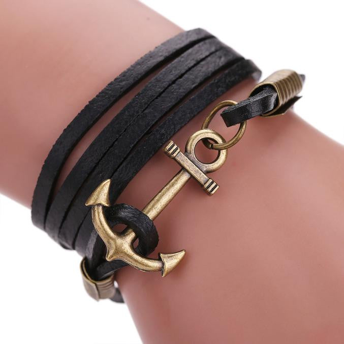 Multilayer Leather Handmade Rope Anchor Bracelet - thehipsterinyou