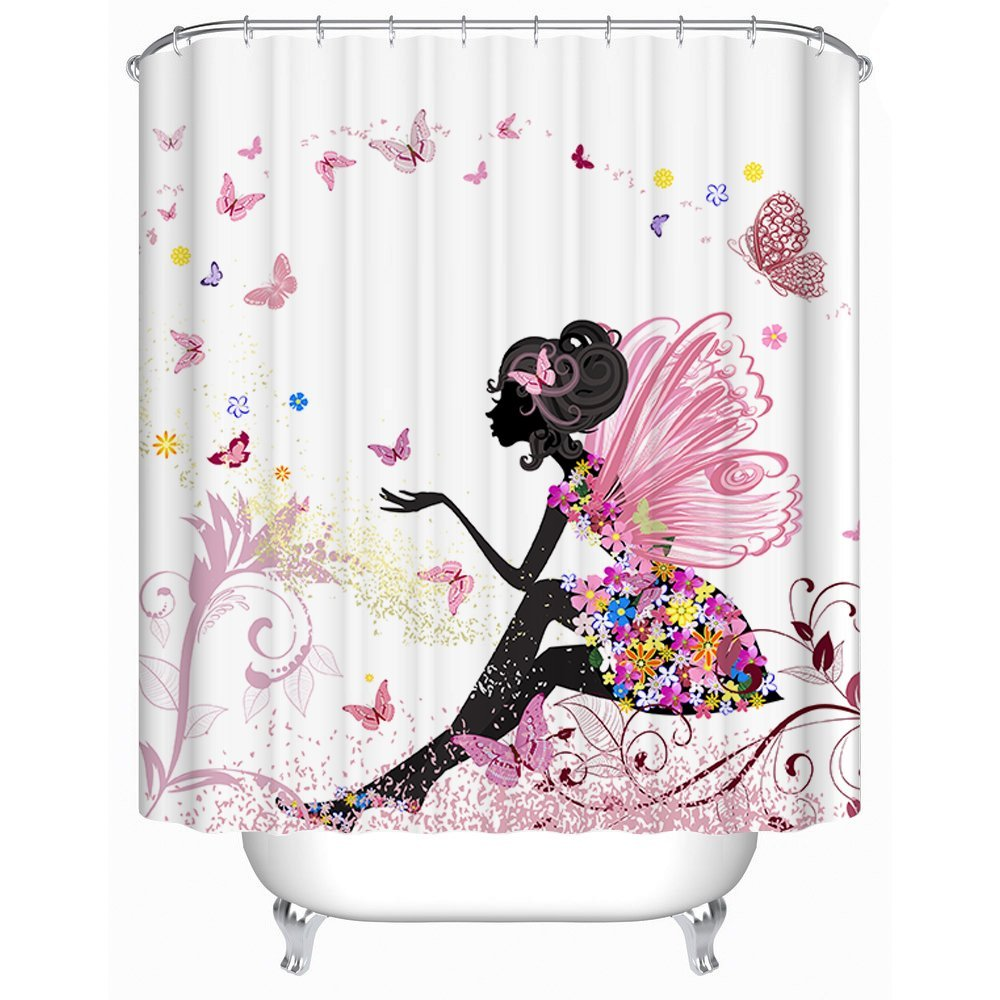Pink Flower Fairy Girl with Butterfly Bathroom Curtain - thehipsterinyou