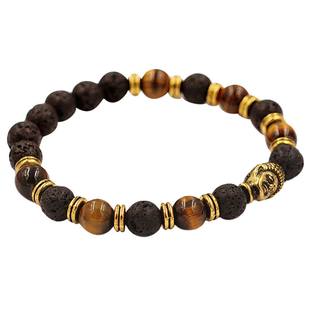 Men & Womens Beautiful Gold Buddha Elastic Beaded Bracelet - thehipsterinyou