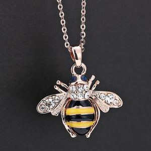 Beautiful Bee Rose Gold Crystal Pendant Necklace - thehipsterinyou