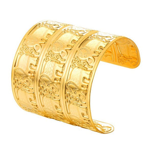 Beautiful Stainless Steel Vintage Gold Color Engraved Elephant Wide Cuff Bangle - thehipsterinyou