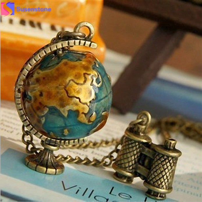 Globetrotter Earth Telescope Tellurion Enamel Pendant Necklace Chain - thehipsterinyou