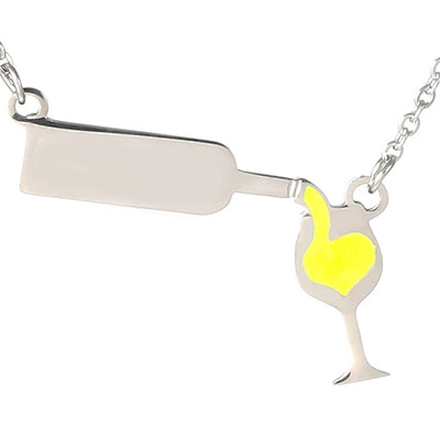 Women's  Love Wine Bottle Gold Silver Color Necklaces  Red Enamel Heart - thehipsterinyou