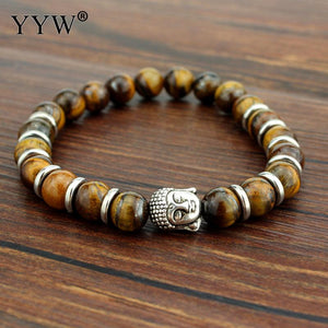 Tiger Eye Beaded Bracelet Buddha  silver color Natural Stones Bracelet - thehipsterinyou