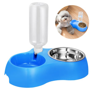 Did You Forget To Give Your Pet Some Water?  Get This Dual Detachable Dog Bowl Stainless Steel Water Food and Water Feeder Bowl Dog Food Bowl Pet Water Bowl Non-Slip Dog Bowl Set - thehipsterinyou