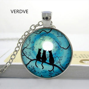 Beautiful Glass Cabochon Cat Round Blue Moon Necklaces