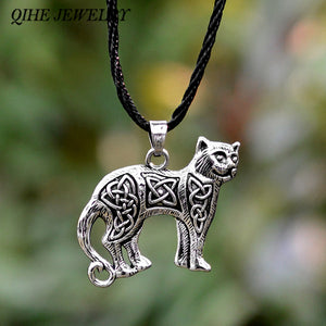 Ancient silver bronze cat necklace Slavic Nordic talisman jewelry.