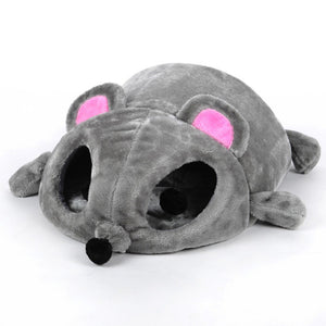 Grey Mouse Shape Small Cats Dogs Cave Bed Removable Cushion Waterproof Bottom - thehipsterinyou