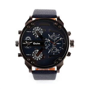Men's Big Round Dial Dual Time Display Quartz Wrist Watch with Cloth Band - thehipsterinyou