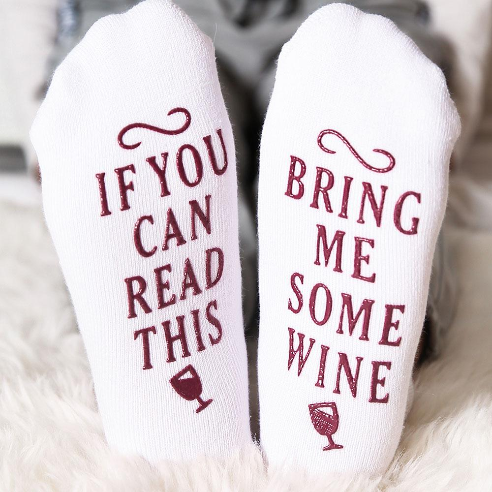 Women Socks IF YOU CAN READ THIS Bring Me Some Wine Socks Casual White High Quality - thehipsterinyou