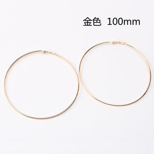 Big And Beautiful 90mm 100mm Size Hoop Earrings, Silver Or Gold Colored - thehipsterinyou