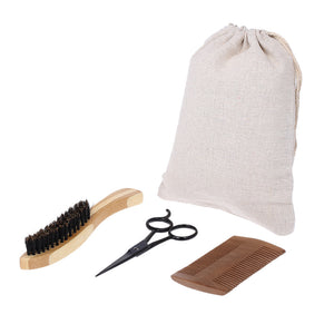 All In One 3Pcs Men's Beard Kit Moustache Brush, Beard Comb + Scissor
