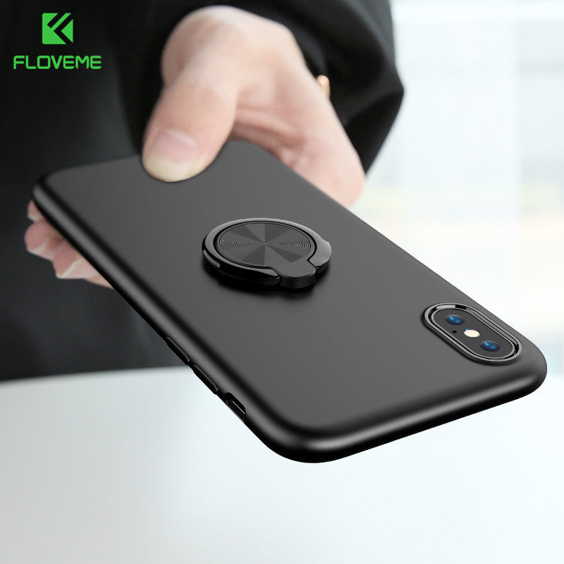 Ring Holder Case For iPhone X 10 8 Luxury Ultra Thin Matte Car Magnetic Holder Silicone Cover For iPhone 7 8 Plus Case - thehipsterinyou