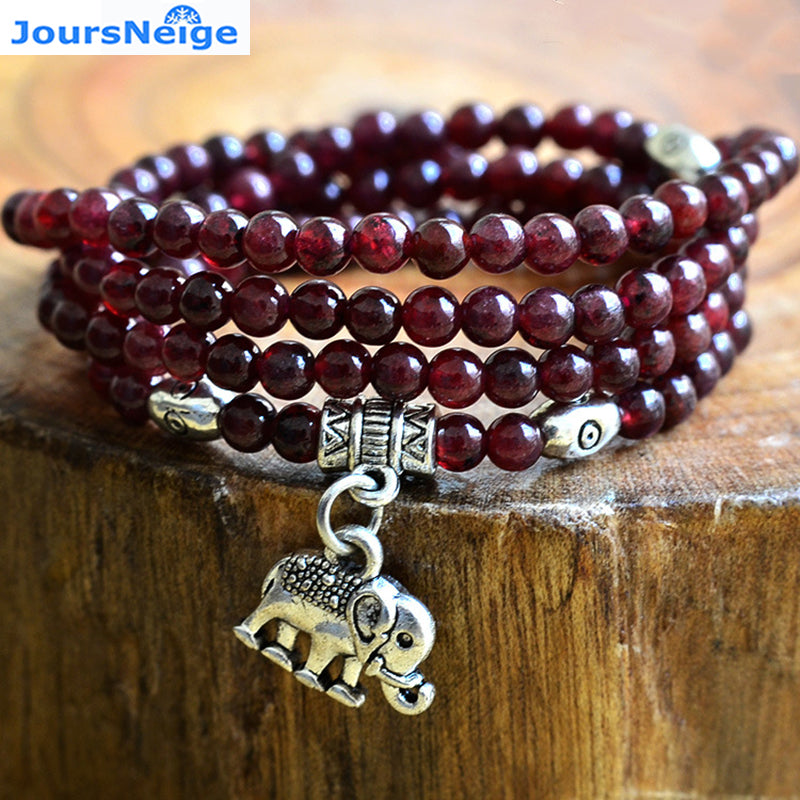Tibet Silver Elephant Pendant Lucky for Lovers Crystal  Multilayer Bracelet - thehipsterinyou