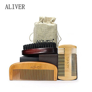 Handmade Wooden 2 Beard Combs and Boar Bristle Beard Brush Set with Satchel bag