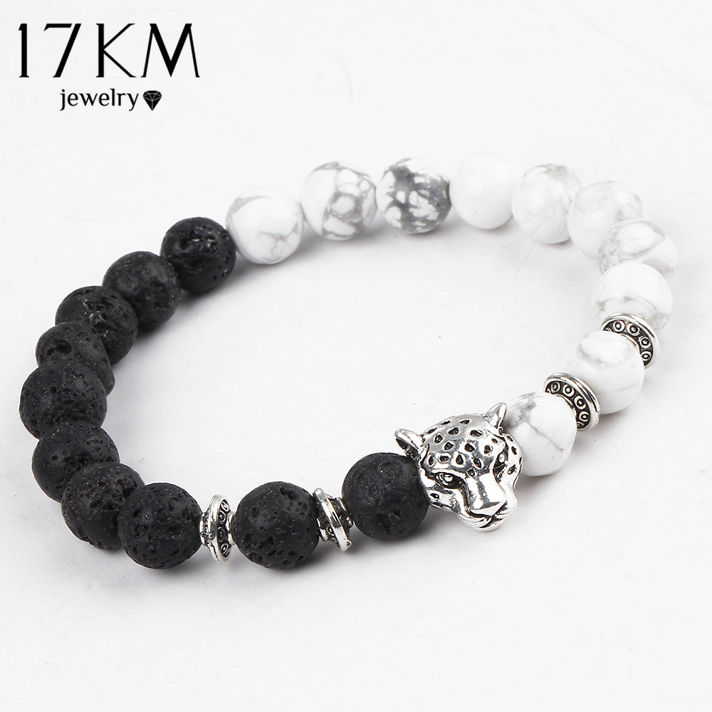 Great Looking White and Black Leopard Charm Bracelet With Silver Color Stones & Buddha Lava Matte Beads - thehipsterinyou