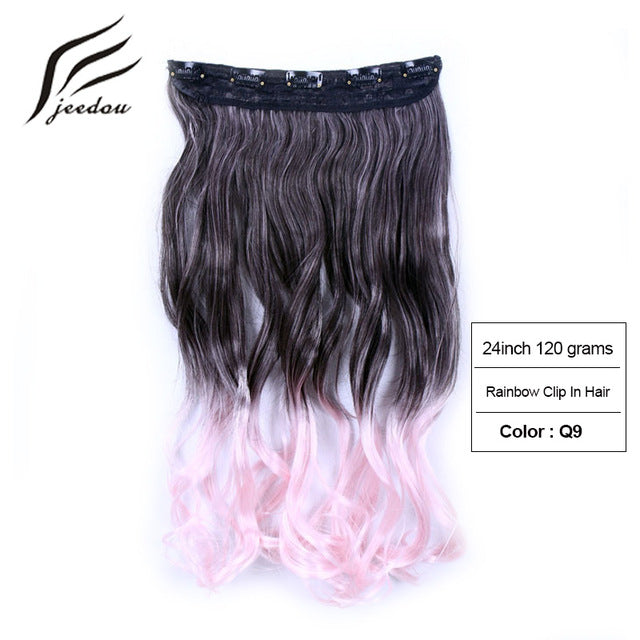 New Womens Wavy Synthetic Hair Clip In Extensions Comes 5 Colors Hairpieces
