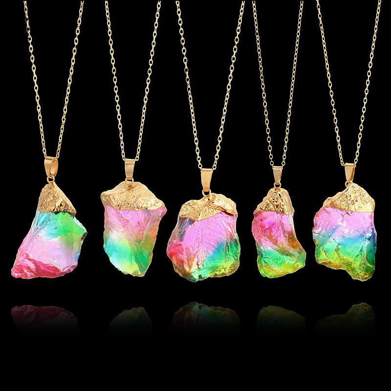 Stone pendant necklace transparent rainbow stone necklace natural stone pendant necklace transparent rainbow stone necklace aloadofball Images