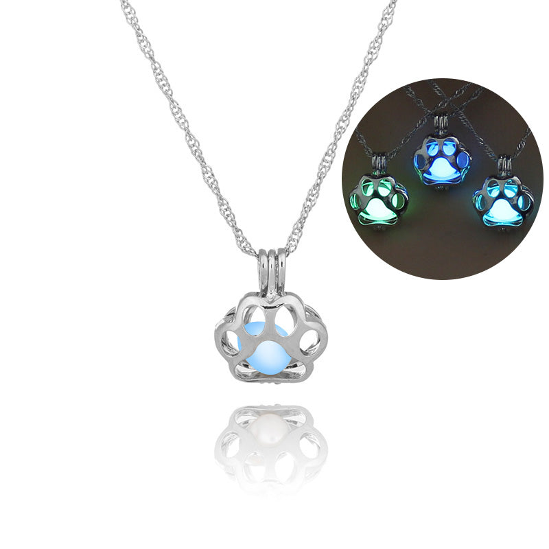 Glow in the dark necklace dog paw silver chain jewelry pendants neck glow in the dark necklace dog paw silver chain jewelry pendants necklaces aloadofball Gallery