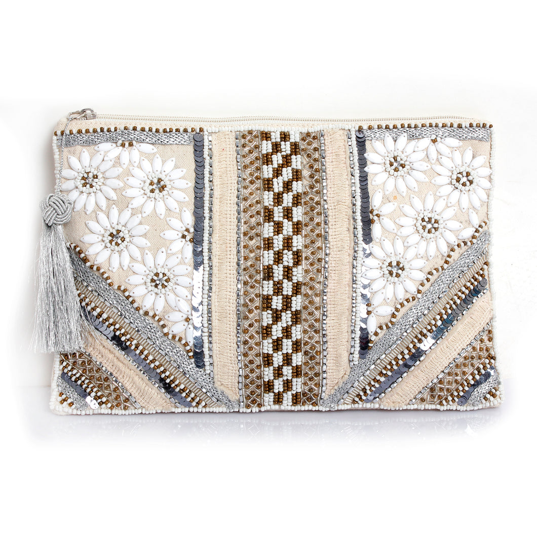 TROPICAL EMBELLISHED POUCH