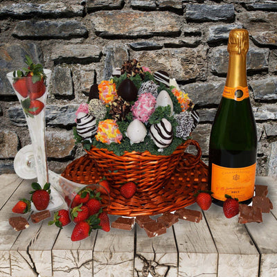 The Champagne & Chocolate Dipped Strawberries Gift Basket