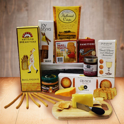 The Birthday Gift Basket features crackers, crisps and breadsticks as well as hummus, tapenade and cheeses. Send this birthday gift basket to your loved once in canada